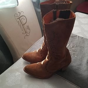 Frye Suede rivets calf high boots